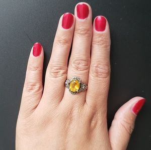 925 Sterling Silver Marqesite Yellow Topaz Ring